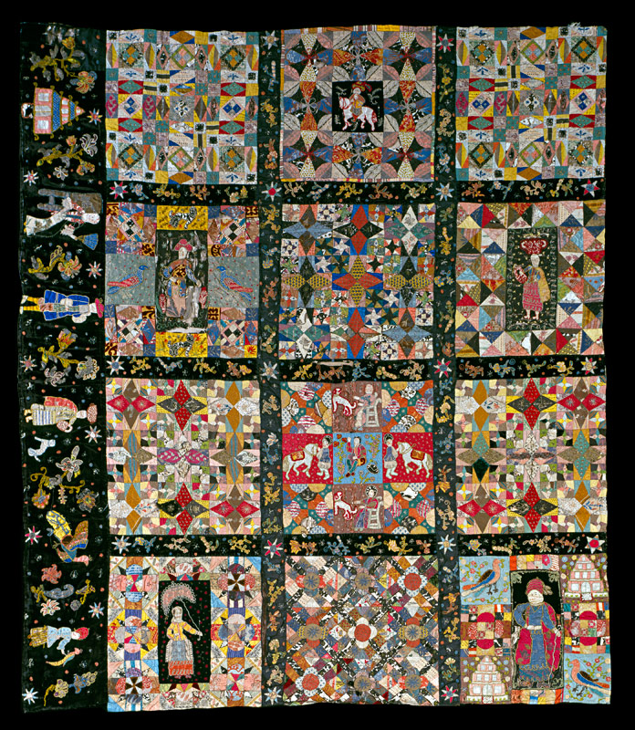 Pieced quilt top fragment, England, 1700–1730, silks and metallic threads over earlier paper templates. Colonial Williamsburg Foundation via http://www.adafca.org/