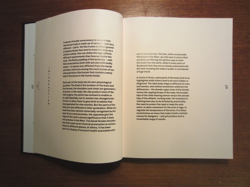 "Pages from the introduction. Sans-serif text, sparse layout, various justifications. From ""The Anatomy of Fashion"" by Colin McDowell, 2013."