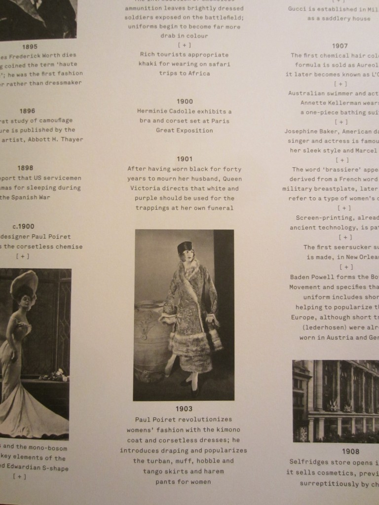 "Detail of Chronology from ""The Anatomy of Fashion"" by Colin McDowell, 2013."