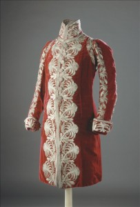 Coat - 1813 Red Silk Velvet, Silver Lamé Thread, Sequins and Cannetilles   Embroidery Belonged to Marshal Bertrand, under Napoleon.