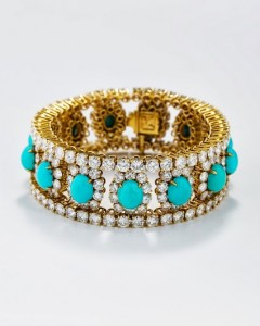 Bracelet, 1972 Platinum with turquoise and diamonds 17.8 x 1.9 cm Collection of Jennifer Tilly Photograph by Zale Richard Rubins