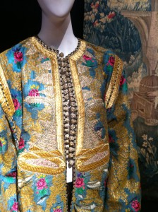 Wedding Kaftan (1930) against an Aubusson Tapestry.