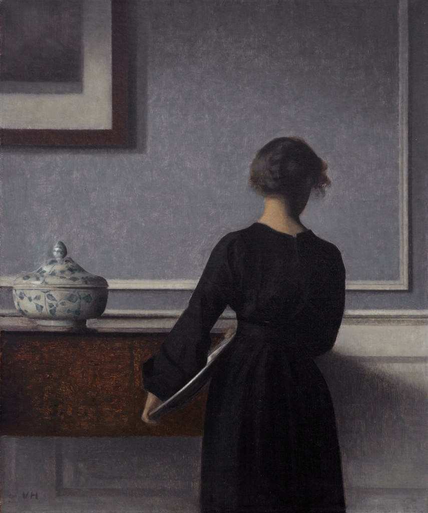 """Interior With Young Woman From Behind,"" Vilhelm Hammershøi, 1904. From the Randers Museum of Art, Denmark."