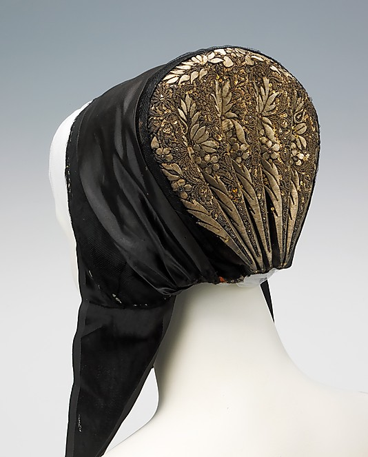 """Bonnet"" from Zealand, Denmark, late nineteenth century. From the collections at the Metropolitan Museum of Art, New York City."