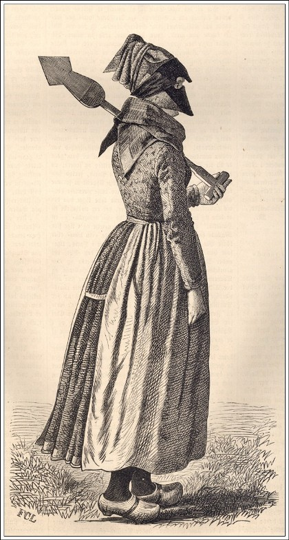 "A Danish woman in a ""strude,"" a face covering to protect from wind and sun. Illustration: C.F. Lund, from Illustreret Tidende 1860."