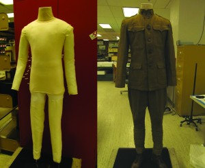 Left: modified commercial dress form with custom arms and fosshape legs Right: World War I uniform on finished mannequin Uniform from collection of the Texas Military Forces Museum, Camp Mabry