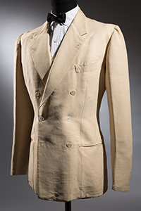 Classic Neopolitan Jacket: D/B cream silk thussor six-button jacket, 1930's