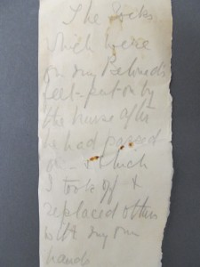 Socks Sir Arthur Conan Doyle Personal Effects, Item 23 Harry Ransom Center The University of Texas at Austin Photo by Jenn Shapland