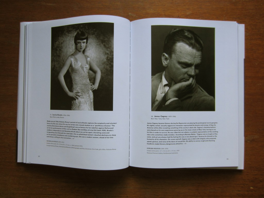 "Louise Brooks (photograph copyright Nickolas Muray, in the IMPF in Rochester, NY) and James Cagney (photograph copyright Edward Weston, in the National Portrait Gallery). Pages from the book ""American Cool"" by Joel Dinerstein and Frank Goodyear, 2014."