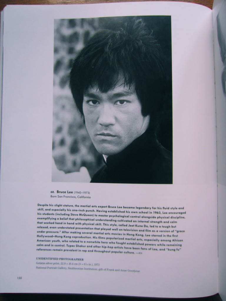 "Bruce Lee holds it down for Asian-Americans in ""American Cool"" by Joel Dinerstein and Frank Goodyear, 2014. Photographer unidentified, in the collections of the National Portrait Gallery, Washington, D.C."