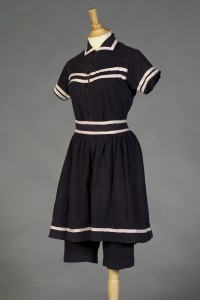Navy blue and white swimsuit American, ca 1919  KSUM 1996.58.224 ab Photograph by Vanessa Por