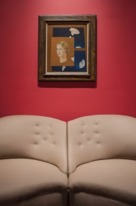 Charles James designed two-part sofa in tan wool (1952) and Max Ernst portrait of Dominique de Menil (1932). The Menil Collection, Houston. Photo: Paul Hester