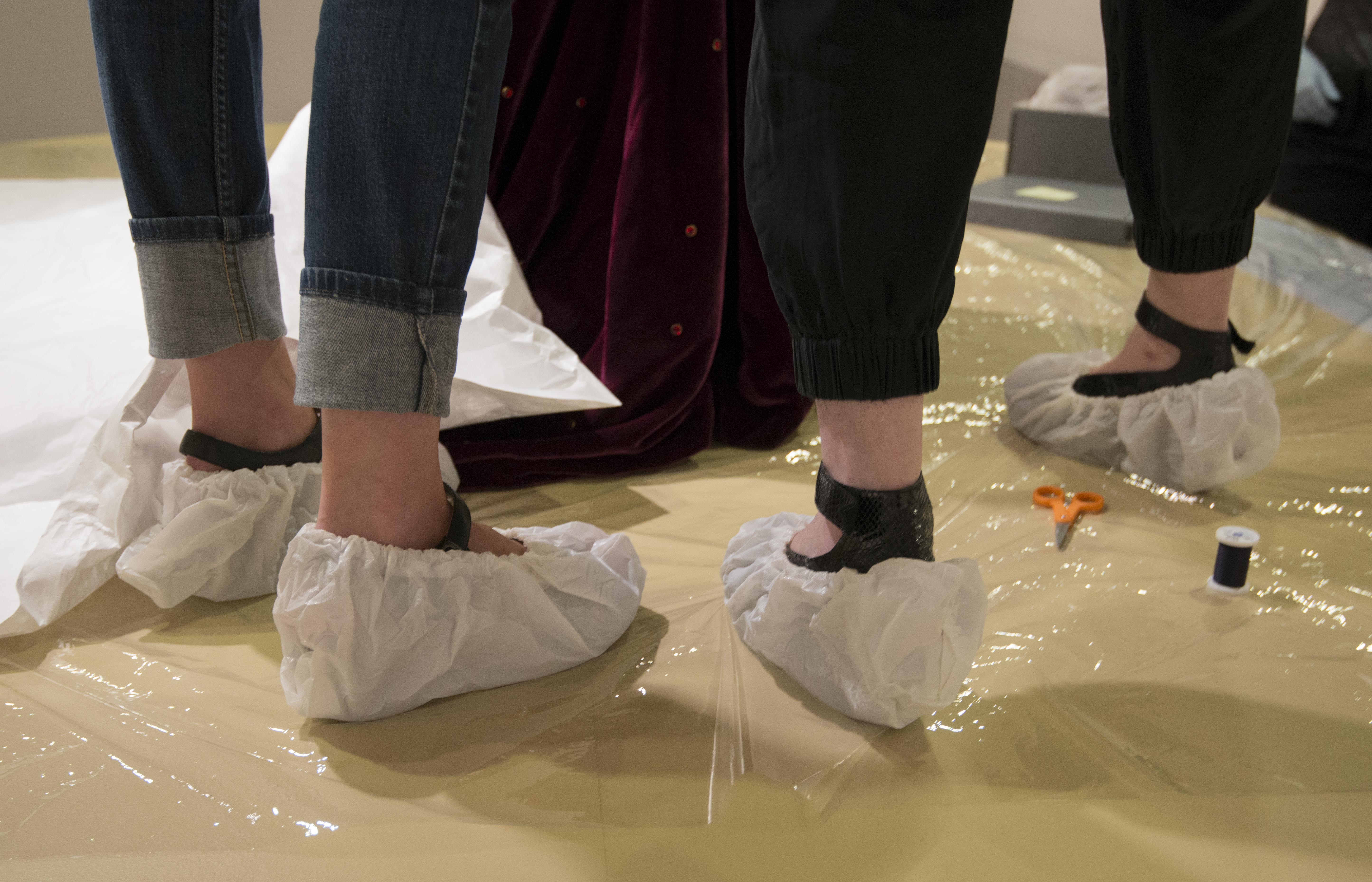 Nothing like some Tyvek booties to complete your installation outfit... Photo by Pete Smith