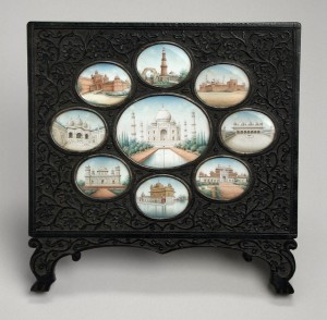 Unknown Principal Monuments of India, Including the Taj Mahal, circa 1850 India, Delhi Opaque watercolor on ivory, mounted in an ebony frame 6 3/4 x 7 x 1/2 in. (17.145 x 17.78 x 1.27 cm) Los Angeles County Museum of Art, Gift of Albert G. Wassenich (34.13.965) Photo © 2014 Museum Associates/ LACMA