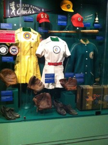 Installation view of women's 1940s uniforms,  National Baseball Hall of Fame Photo by the author