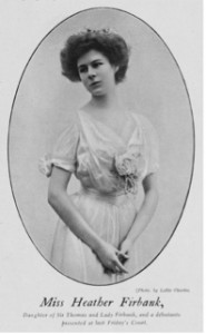 Heather Firbank in her court presentation dress and tiara, photographed by Lallie Charles, from The Onlooker, 23 May 1908 London Society Fashion, V&A Publishing, 2015