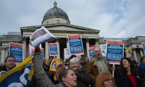 Staff on strike at the National Gallery, London. Image via The Guardian, www.the guardian.com