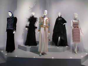 Various outfits grouped together to represent 'haute couture', ranging from 1959 to 2000