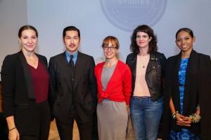 """Panelists on """"Future Fashion in NYC"""": Tessa Maffucci, Minn Hur, Dr. Elizabeth Wissinger, Elizabeth Cline, and Tabitha St. Bernard"""