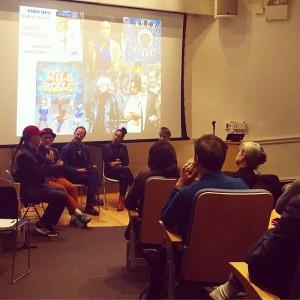 From left: Fabel Pabon, Charlie Ahern, John Dunn, Maren Reese, and moderator Drake Stutesman