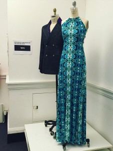 Two costumes on display from the upcoming HBO series, Vinyl