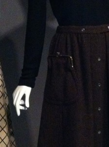 Detail of Bonnie Cashin skirt. Global Fashion Capitals, The Museum at FIT. Photo by the author.