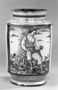 Venetian albarello, or pottery apothecary's jar (1500-1520 A.D.)  The woman wears woven half-stockings that appear very similar to fishnets.  Walters Art Museum, Baltimore, MD.