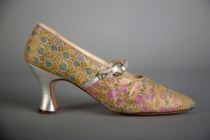 Hook & Knowles (England, 1850–c. 1930s), Shoes, c. 1918, Polychrome silk brocade with silver kid, crystal, and metal, Robert and Penny Fox Historic Costume Collection, Drexel  University, Gift of Mrs. Upton Sullivan. Photo by Michael J.  Shepherd.