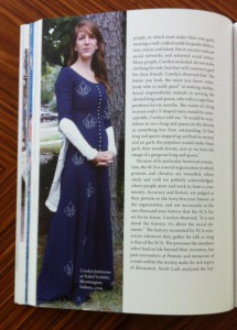 SCA member in French medieval dress, from Costume: Performing Identities Through Dress, Indiana University Press, 2015