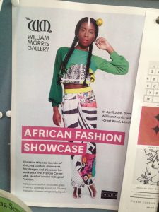 Poster for event entitled 'African Fashion Showcase', displayed at the cafe in London College of Fashion