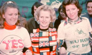 Margaret Thatcher in 1975 in support of EEC membership