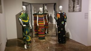 Hand-painted silk dresses designed by Grażyna Hase in the mid-1990s. From the left: dress inspired by Wojciech Fangor paintings, dress inspired by folk patterns and embroidery from the Łowicz region, dress inspired by Joan Miró's paintings. Photo: Dominika Łukoszek.