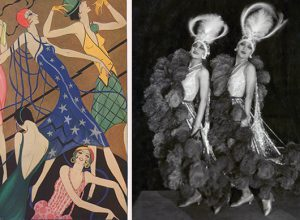 A fashion illustration showing models wearing various party dresses.     Date: 20th June 1928