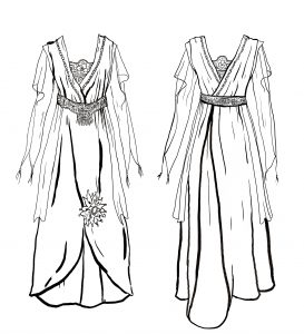 Evening gown, Worthing Museum. Back and front.  Illustration by Joe McCrae