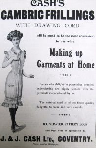 Original advertisements provided contextual information.  Cash's Cambric Frilling in 1907