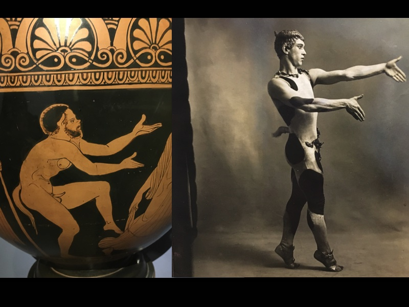 The curators placed side by side, an Ancient vase and a photograph of vassal Nijinsky in L'Après-Midi d'Un Faune and I found it so interesting to see how precise the work of the artists was on stage, the dancer reenacting the gesture of the illustrated figure